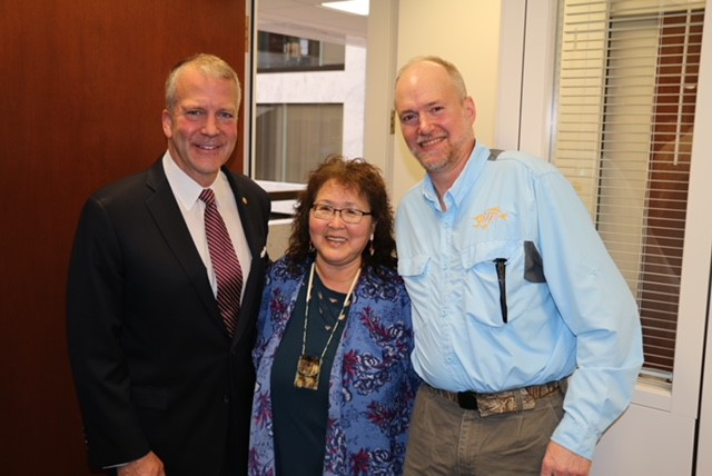 Left to right, Senator Dan Sullivan, Helen Aderman, and Andrew Aderman visit Senator Sullivan's office during May 2019. Editor's note: This image was added 9 January 2020.