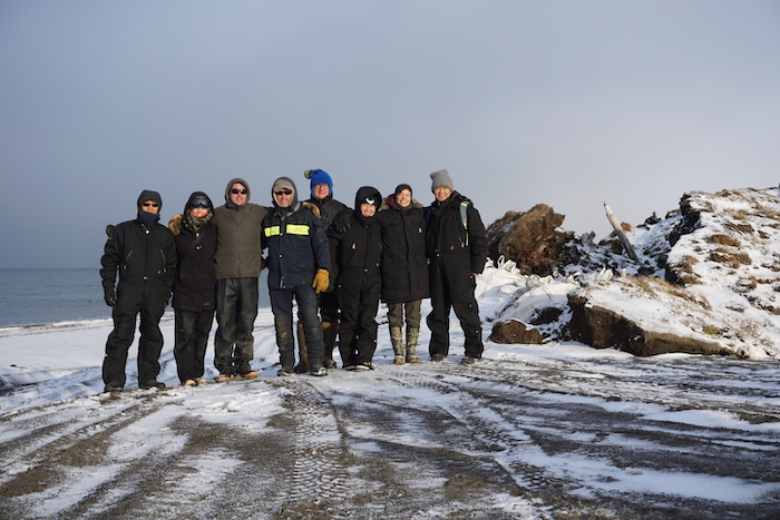 Figure 3. Members of the Permafrost Coastal Erosion RCN and Permafrost Coastal Systems Network during a visit to Utqiagvik in October 2018. Photo courtesy of Ming Xiao.
