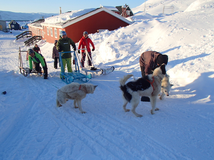 "Figure 4. ""Now let's go."" Trying the sledges with dogs near the school. Photo courtesy of Kamilla Oliver."