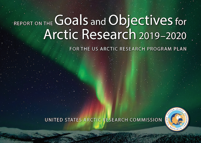 Illustrated cover of the 2019-2020 Report on the Goals and Objectives for Arctic Research. Image courtesy of USARC.