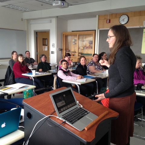 Speakers were invited to present their findings on relevant topics such as citizen science in the classroom, community engagement in Arctic Research, and making data available to students. Photo courtesy of Sarah Bartholow.