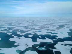 A view of the sea ice on the Arctic Ocean surrounding the USCGC Healy