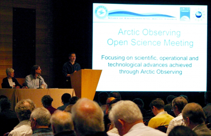Craig Lee University of Washington, Applied Physics Laboratory and Co-chair of Arctic Open Observing Summit Meeting Organizing Committee offers welcoming remarks. Photo courtesy of ARCUS