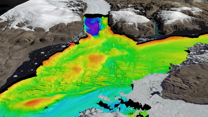 Oblique graphic perspective of fossil grounding line at the Petermann Sill. Striations show past ice flow path fromthe Petermann Fjord toward Nares Strait. Bathymetric data from Petermann Expedition mapping, Terrestrial Data courtesy from George Roth, Polar Geospatial Center, University of Minnesota.  Image courtesy of Martin Jakobsson.