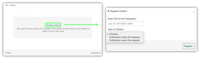 Figure 1. Screenshots of the register citation feature. Image courtesy of the Arctic Data Center.