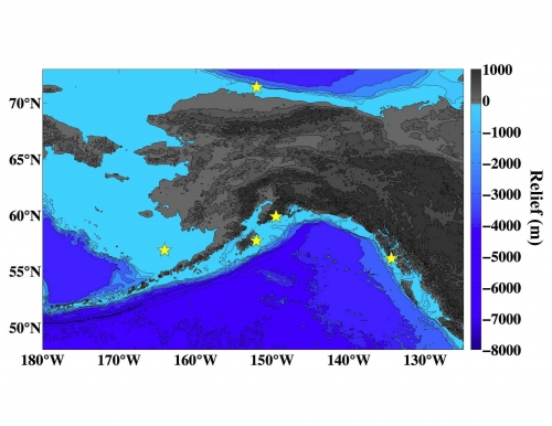 Figure 2. Map showing the location (yellow stars) of the buoys around Alaska that are measuring ocean acidification parameters in real-time.  Image courtesy of Jeremy Mathis.