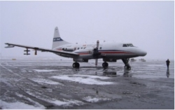 Convair 580 on tarmac in northern Alaska. Image courtesy of Sarah Brooks.
