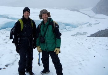 Matt Charette (left) and Ben Linhoff (right) atop the snout of the Leverett Glacier in May 2011. Photo courtesy of Jemma Wadham, University of Bristol.