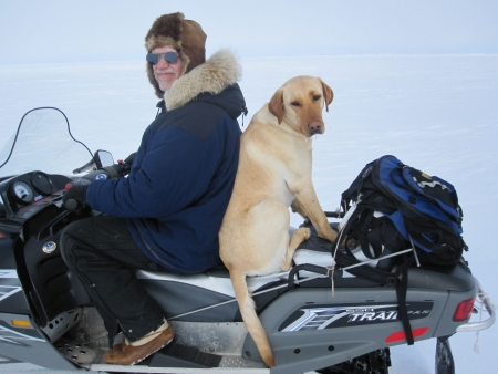 A favorite field assistant accompanies Brendan P. Kelly, whose research career has spanned three decades and included studies of Arctic marine mammals, their sea ice environment, and the cultural significance of the ecosystem to indigenous communities. Photo courtesy: Melanie Duchin.