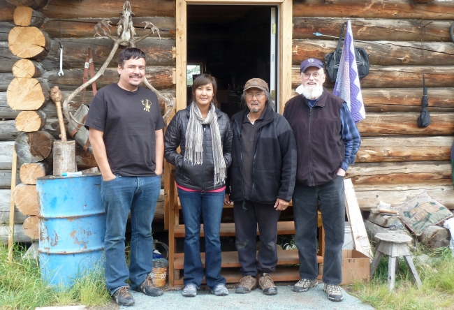 Project team in Arctic Village, 2013. From left to right: Allan Hayton, Crystal Frank, Kenneth Frank, and Craig Mishler. Photo courtesy of Allan Hayton.