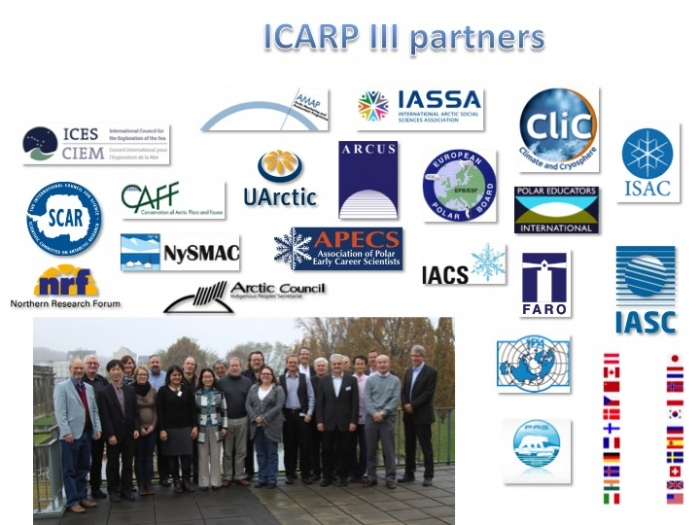 ICARP III Partners include all of the major organizations conducting or facilitating Arctic research. Each partner organization is represented on the ICARP III Steering Group, chaired by David Hik (IASC). Image courtesy of ICARP III.