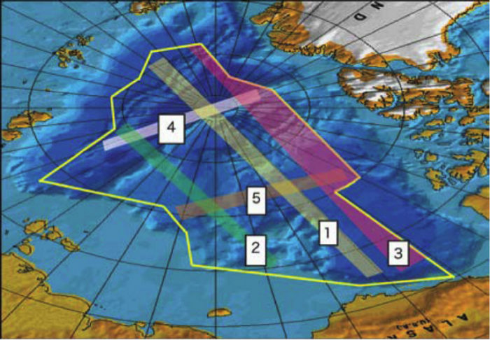 Figure 4: The five swaths are recommended corridors for data acquisition. The area outlined in yellow is approved for declassification. Image courtesy of U.S. Navy Arctic Submarine Laboratory.