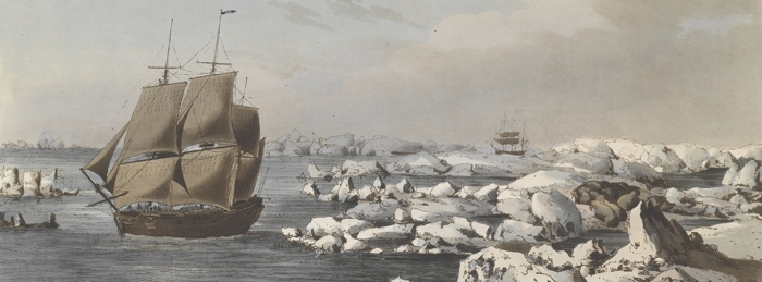"Figure 1: Detail from ""The Resolution beating through the Ice, with the Discovery in the most eminent danger in the distance."" Etching by John Webber, published 1792. Image courtesy of the Arctic Ambitions exhibit."