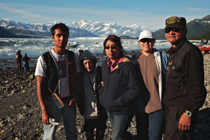 Yakutat Seal Camps Project community researchers, the Ramos-Abraham family, at Yakutat Bay, Alaska. Photograph by Brandon McElroy, image courtesy of the Arctic Studies Center.