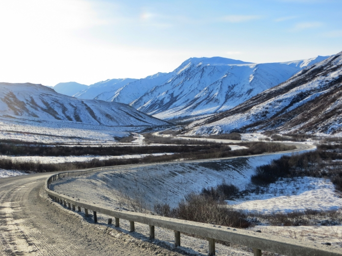 The USARC Goals Report identifies frozen debris lobes (slow-moving landslides) as a potential threat to the infrastructure of the Dalton Highway in the Brooks Range, Alaska. Image courtesy of Scott McMurren.