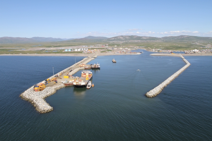 "In its 2015-16 Goals Report, the USARC encourages additional civil engineering research toward developing a system of deep-draft harbors throughout northwestern Alaska, which will enhance the Arctic ""built environment."" Port of Nome, Alaska is pictured here. Image courtesy of the U.S. Army Corps of Engineers."