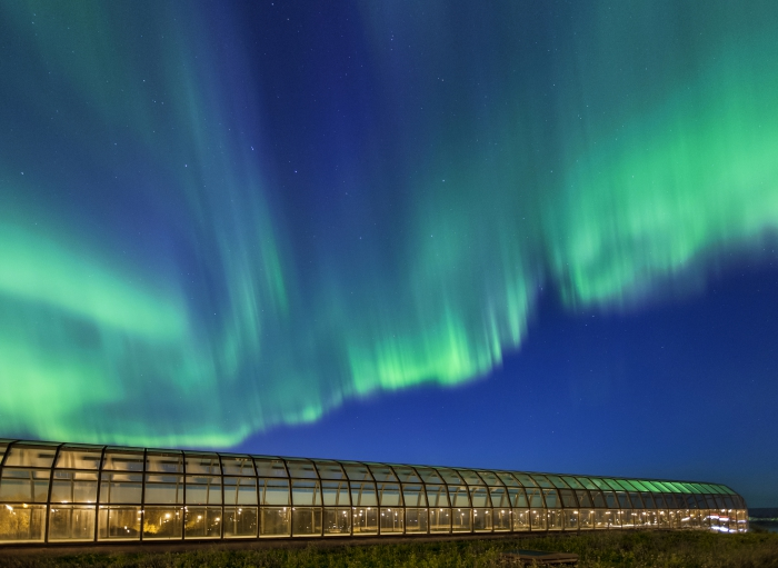 Northern lights are a common sight around Rovaniemi, pictured here with the Arktikum House. Photo by Pekka Koski.