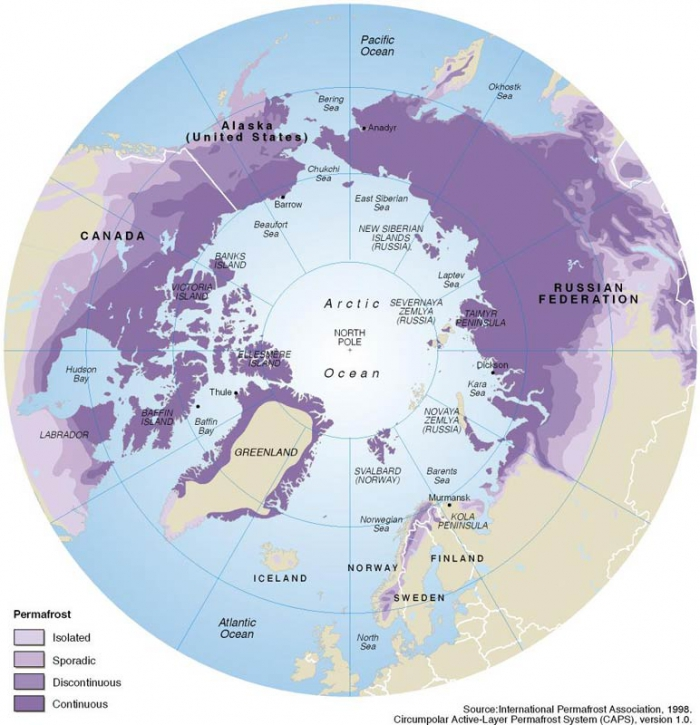 Figure 1: Purple shades outline areas of permafrost distribution and extent. Image courtesy of the International Permafrost Association.