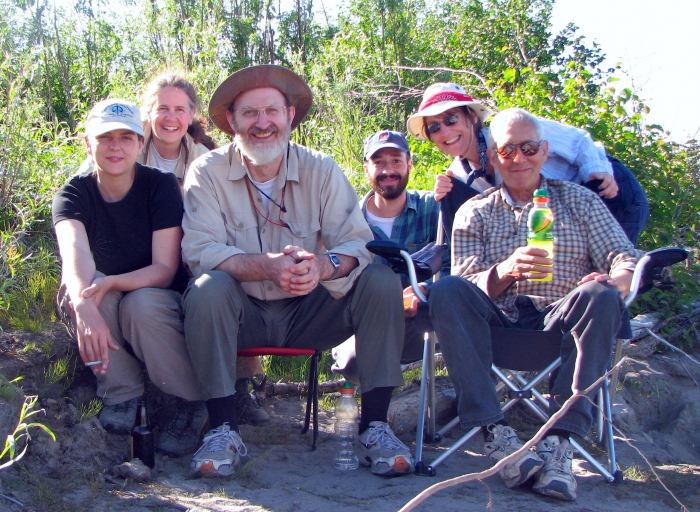 A field sampling crew poses along the Yukon River near Galena in 2007. Photo courtesy of Claire Alex.