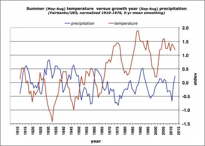 Figure 5: Summer temperature and annual precipitation (smoothed as 5-year running mean) at Fairbanks Experiment Station (1906-1948) and Fairbanks International Airport (1949-present). Interior Alaska white spruce grows best in periods of cool summer temperatures and high annual precipitation. Summer temperatures have become markedly warmer since the 1970s, while precipitation has slightly declined. (Data have been normalized to the mean of 1906-76 and are expressed as departures from the mean in units of st
