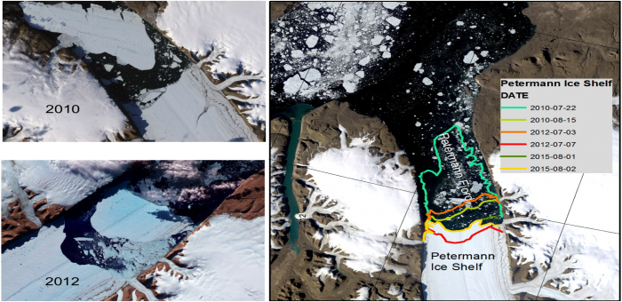 Major calving events in 2010 and 2012, which resulted in loss of about 30-40% of the Petermann Ice Shelf, provided the Petermann-2015 expedition access to study a system that had been covered by ice for centuries. Images courtesy of NASA.
