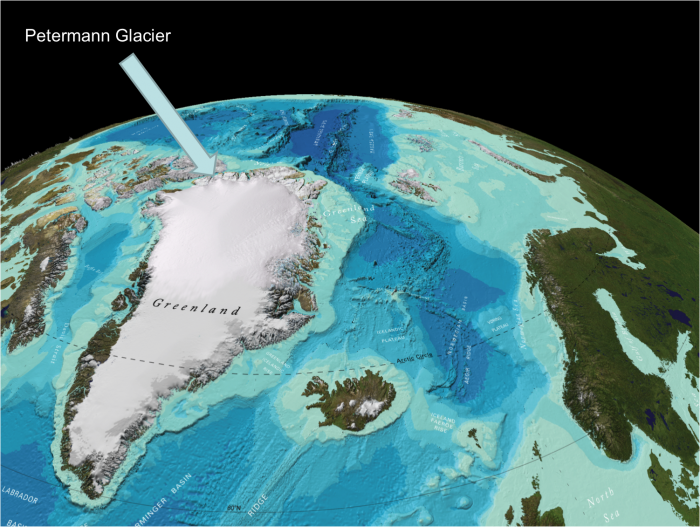 The Petermann Fjord is on the northwest coast of Greenland. Image courtesy of Martin Jakobsson. Base map from GEBCO.