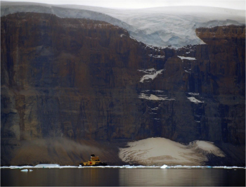 The Swedish Icebreaker Oden cruises the Petermann Fjord in northeast Greenland. Photo courtesy of the Petermann Expedition.