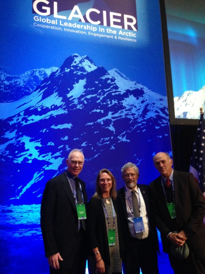 Members of the Polar Research Board with John Holdren at the recent GLACIER conference. From left, Larry Hinzman, Interim Vice Chancellor for Research, University of Alaska Fairbanks; Julie Brigham-Grette, UMass-Amherst and Chair of the NAS Polar Research Board; John Holdren, Chief Science Advisor, White House Science Office OSTP; and Rafe Pomerance, consultant, formerly with the U.S. State Department. Photo courtesy of Julie Brigham-Grette.