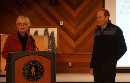 Fran Ulmer, Chair of the USARC, introduces Robert Rich, Executive Director of ARCUS, prior to his presentation to the Commission in Nome. Photo courtesy of John Farrell.
