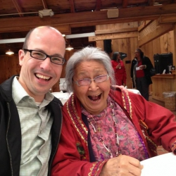 Figure 4. Elizabeth Fleagle (Inupiat Eskimo, Elder, Mentor, Traditional Counselor) and author, Jordan P. Lewis in Suquamish Lodge, Bainbridge Island, Washington in 2012. Photo courtesy of Jeremiah E. Lewis.