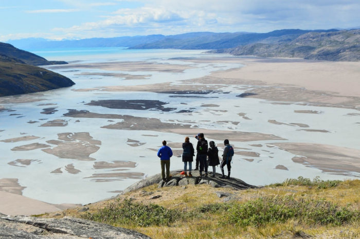 JSEP students look west toward the Kangerlussuaq fjord from the top of Black Ridge. Photo courtesy of Erica Wallstrom.