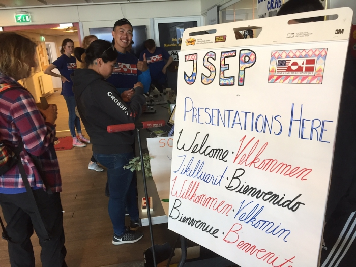 JSEP students talked to travelers at the Kangerlussuaq Airport in English, Danish, and Greenlandic about the effects of climate change on Greenland. Photo courtesy of Erica Wallstrom.