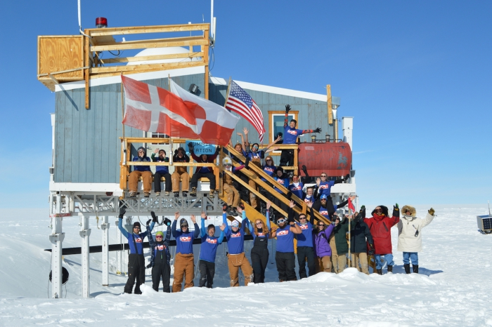 JSEP students and educators at Summit Station, a research station at the top of the Greenland Ice Sheet. Photo courtesy of Erica Wallstrom.