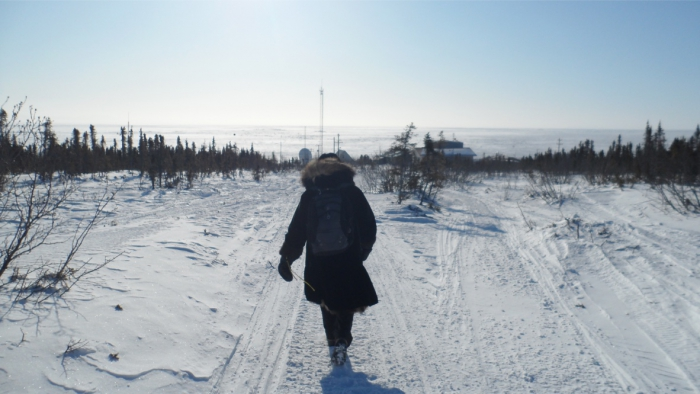 Figure 3. The late Margaret Hemnes from Nome walking to the tribal hall in the Village of Koyuk, Alaska in 2011. Photo courtesy of Jordan P. Lewis.