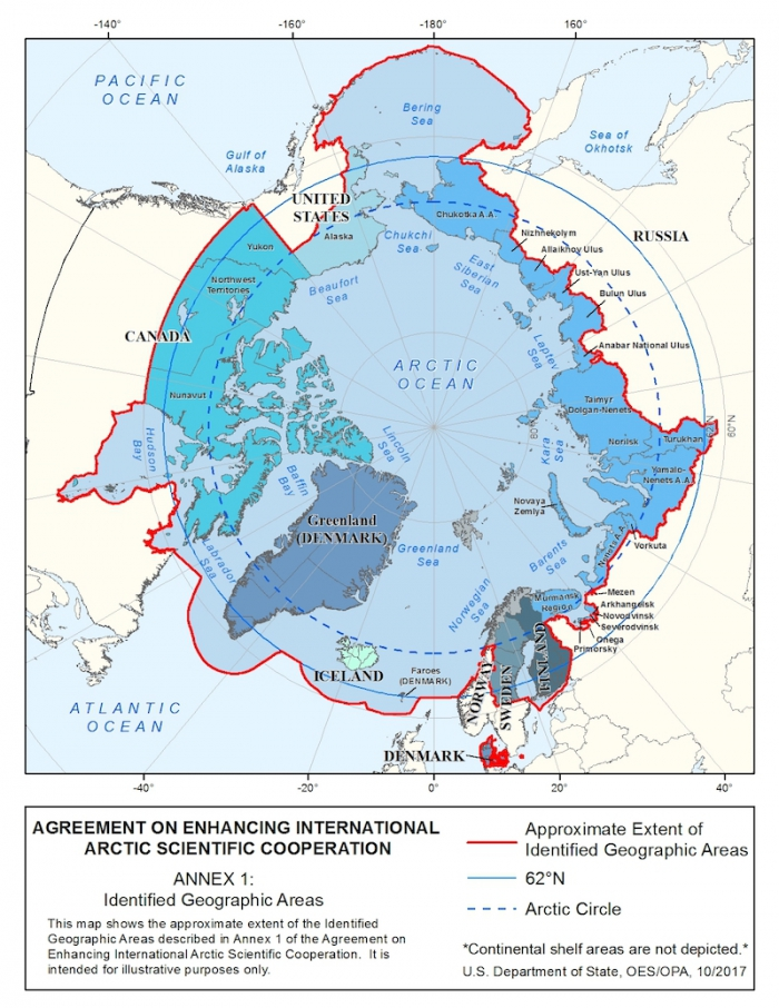 Figure 1: Map of the Agreement on Enhancing International Arctic Scientific Cooperation. U.S. Department of State, OES/OPA. October 2017.
