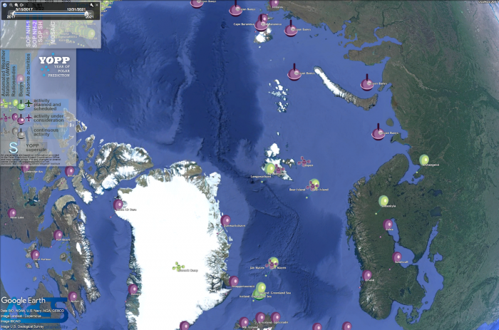 Figure 3: In order to provide a better overview of observational activities that will take place during the Year of Polar Prediction, the ICO has developed a kmz file to be opened, e.g., with Google Earth. Image courtesy of the Google Earth/International Coordination Office for Polar Prediction.