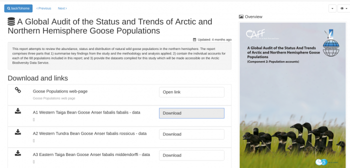 The CAFF's Arctic Biodiversity Data Service provides all datasets used in the Conservation of Arctic Flora and Fauna (CAFF) reports to be downloaded by any user of the portal. Image courtesy of the CAFF Arctic Biodiversity Data Service (ABDS) .