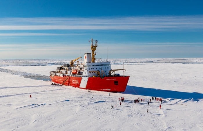 Figure 2. The cruise took place on the icebreaker, CCGS Louis S. St-Laurent in 2017. Sea surface partial pressure of carbon dioxide; has been measured on the ship since 2012 using an automated, underway system (see Figure 3). Photo courtesy of Gary Morgan (CCGS).