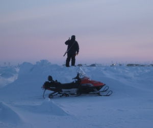 A UIC Science bear guard stands watch over a research site on the Chukchi sea ice. Photo courtesy of UIC Science.