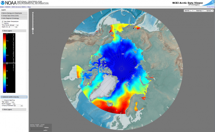 An NCEI Arctic Data Viewer of product holdings is under development and will be published for user access in 2017 by the NCEI Arctic Team. Image courtesy of NOAA/NESDIS/NCEI Arctic Team:  H. Garcia, J. Jencks, M. Zweng, S. Baker-Yeboah, H. Diamond, F. Fetter, G. Peng, K. Rose, S. Helfrich, P. Groisman, M. Palecki, and J. Partain.