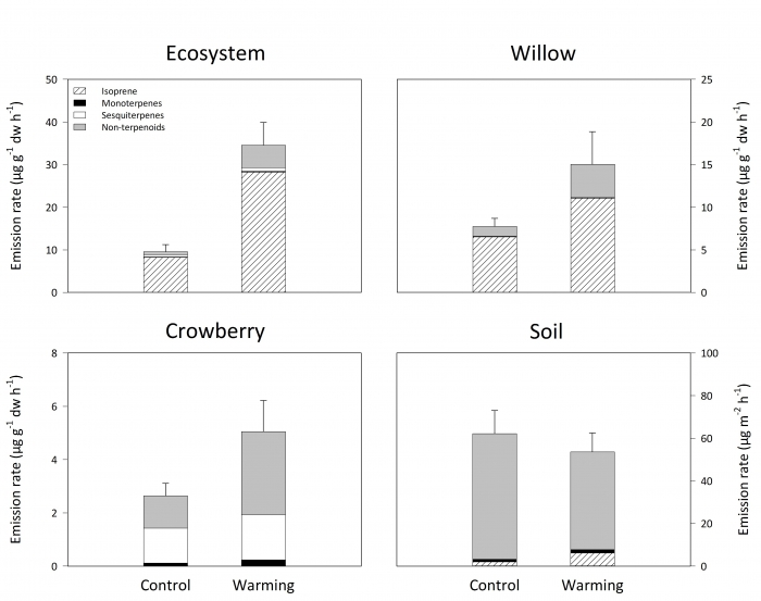 Figure 2: Release of VOCs from the control and warmed plots in the Nuuk experiment averaged over one summer of measurements. The graph shows release of VOCs in the two treatments for the whole tundra ecosystem (calculated per gram plant biomass), the two dominant plant species, and for bare soil. The bars also show the contribution by different types of VOCs: Isoprene accounts for about 50% of VOCs from nature. Monoterpenes and sesquiterpenes typically have a strong odor.