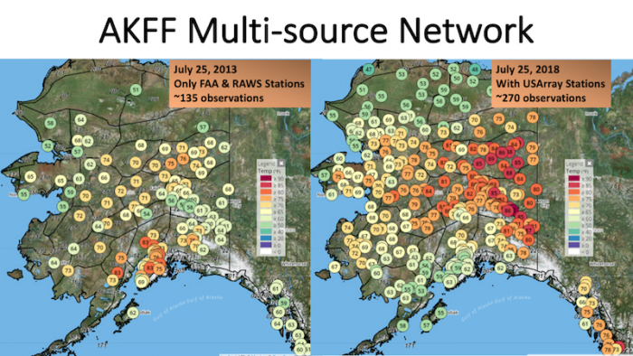 The Alaska Fire and Fuels database is enhanced when it can pull station data such as the TA into the network. This image illustrates how much the TA has allowed the network to expand. Image courtesy of Alaska Fire and Fuels