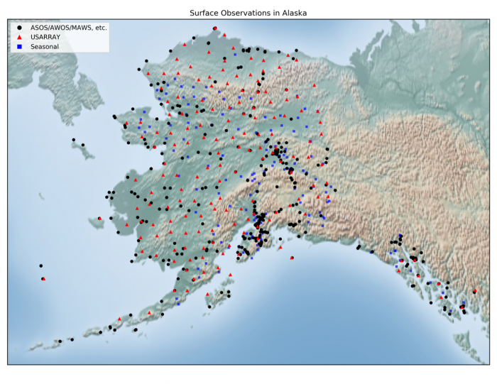 National Weather Service observation sites in Alaska, including TA stations. Image courtesy of the National Weather Service.