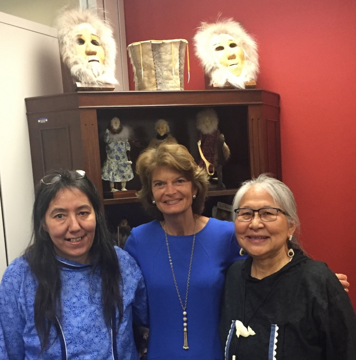 Scholars, Rosemary Ahtuanguarak (left) and Theresa Arevgaq John (right) meeting with Senator Lisa Murkowksi in her office. Photo courtesy of Robert Rich.