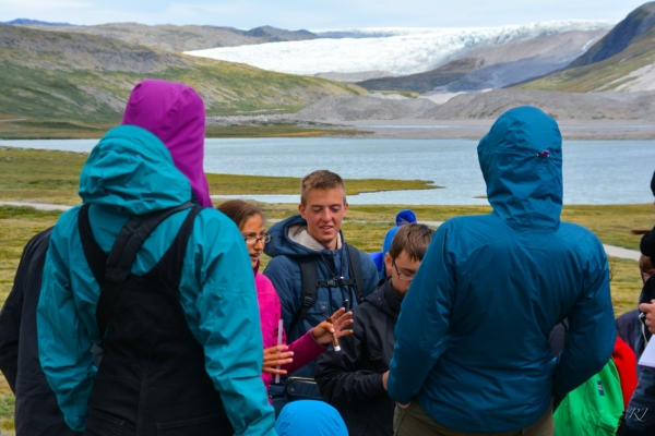 Learning about erosional processes from Dartmouth Graduate student Ruth Heindel (Photo Credit: Rikke JØrgensen)