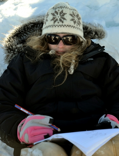 Diligent note taking on the ice (Photo Credit: Lynn Foshee Reed)