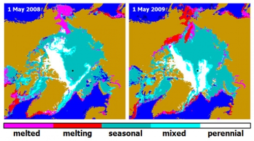 Sea Ice Distribution in May 2009 versus 2008 derived from QuikSCAT scatterometer