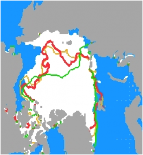 Figure 1. Mean sea ice extent 1979-2000 is shown in white.