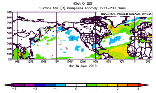Figure 2. Spring (March to June) sea surface temperature anomalies.