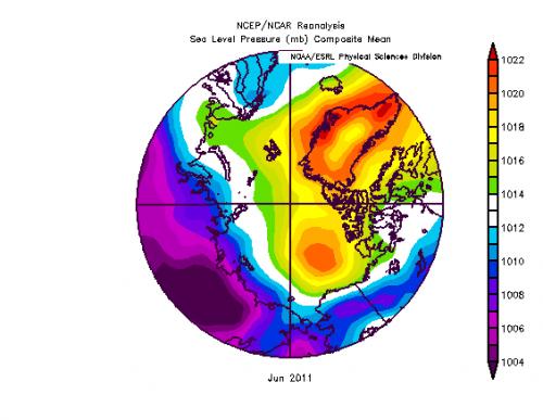 Figure 3. Map of sea level pressures (SLP) for June 2011